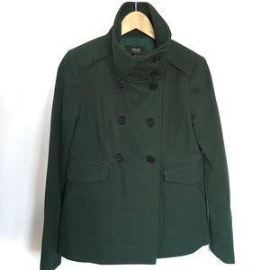 MANGO// emerald green twill funnel neck jacket sz6